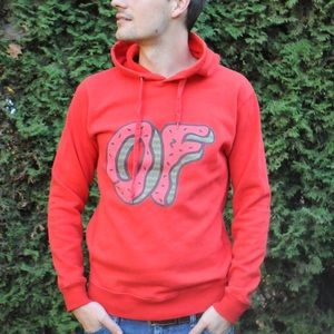 Red hoodie with odd future logo